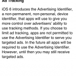 IOS Ad Tracking explanation