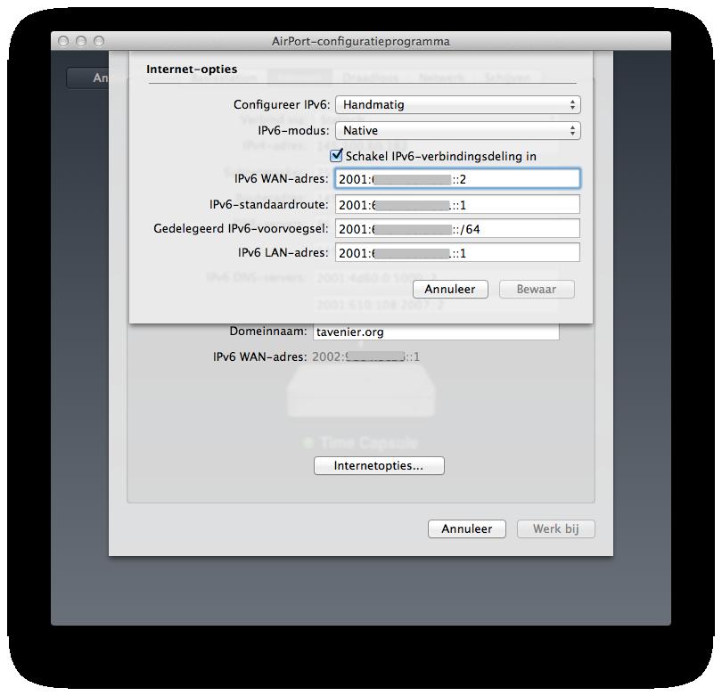IPv6  configuration Time Capsule