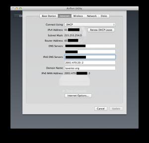 Airport Utility - Internet tab